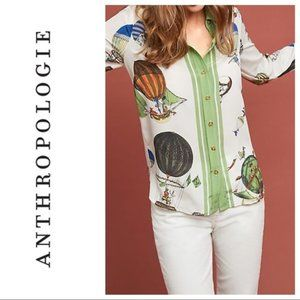 Anthropologie Retro- Printed Silk Buttondown Shirt